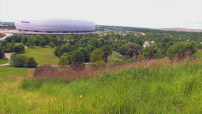Allianz Arena Munich. Seen from above, a football stadium in Munich, Bavaria, Germany stock video