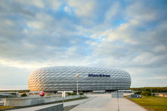 Allianz Arena in Munich. MUNICH, GERMANY - MAY 9, 2017 : A view of the Allianz Arena football stadium in Munich, Germany. The Allianz Arena is home football stock photography