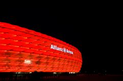 Allianz Arena in Munich at night in red. Allianz Arena in red, night photo of the famous stadium in Munich, Germany stock photography