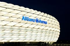 Allianz Arena in Munich at night in white. Allianz Arena in white, night photo of the famous stadium in Munich, Germany royalty free stock photos