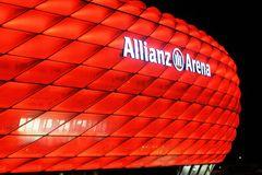 Allianz arena. Night view of Allianz Arena in Munich in November 2015 Royalty Free Stock Images