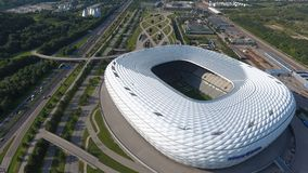 Allianz Arena aerial view from drone. Allianz Arena, soccer stadium in Munich, areal stock photos