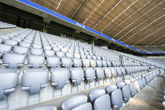 Allianz Arena Stadium. Empty seats at Allianz Arena stadium -the official playground of FC Bayern Munich royalty free stock photos