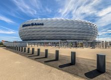 Allianz Arena stadium entrance square Munich. MUNICH, GERMANY - 14 AUGUST 2017: Entrance to Allianz Arena stadium square Munich, Germany. The Allianz Arena is royalty free stock images