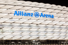 Allianz Arena Stadium illuminated at night Stock Photography