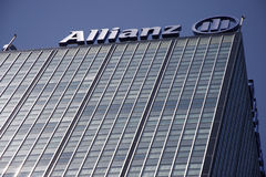 Allianz. MAY 2008 - BERLIN:  skyscraper (headquarter of Allianz insurances) in the Treptow district of Berlin Royalty Free Stock Photography