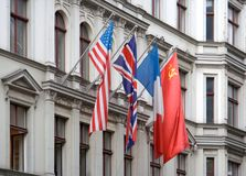Allied Flags At Checkpoint Charlie Stock Photos