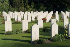 Allied War Cemetery. World War II cemetery in central Belgium (Heverlee) with aligned and well kept tomb stones on a green and serene pasture, of  Allies Stock Photo