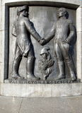 Allies of the monument. Tadeusz Kosciuszko and George Washington on the pedestal of the monument in Freedom Square in Lodz royalty free stock photo