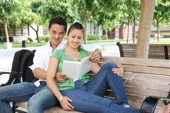 Allievi adolescenti attraenti alla lettura dell'istituto universitario Fotografia Stock