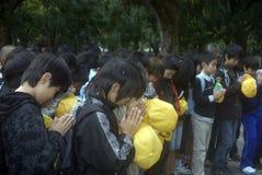 Allievi al memoriale di pace, Hiroshima, Giappone Immagini Stock Libere da Diritti