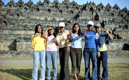 Allievi a Borobudur Fotografia Stock