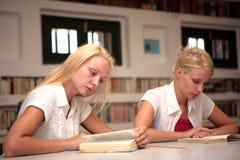 Allievi che studiano nella libreria Fotografie Stock Libere da Diritti