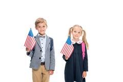 Allievi con le bandiere americane Fotografia Stock