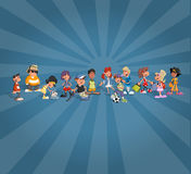Allievi del fumetto dell'adolescente sopra il globo della terra Immagini Stock Libere da Diritti