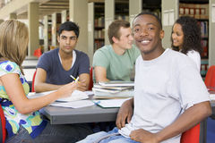 allievi della libreria di istituto universitario che studiano insieme Immagine Stock