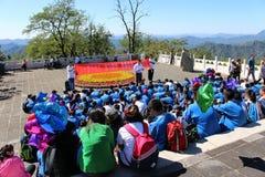 Allievi della scuola alla grande muraglia a Mutianyu Fotografie Stock Libere da Diritti