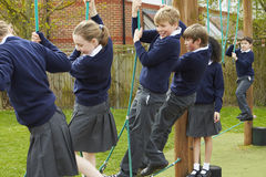 Allievi della scuola elementare su attrezzatura rampicante Fotografia Stock Libera da Diritti