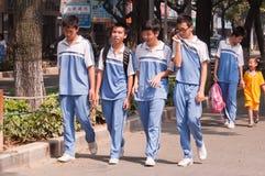 Allievi della scuola secondaria in Cina Immagini Stock