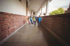Allievi felici che camminano al corridoio Immagine Stock Libera da Diritti