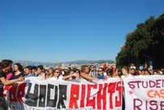 Allievi italiani contro il governo Immagini Stock