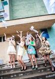 Allievi per completare anno accademico Fotografia Stock Libera da Diritti