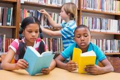 Allievi svegli che leggono nella biblioteca Immagine Stock