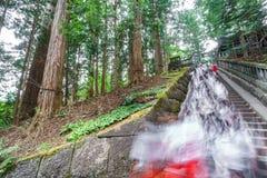 Allievi vaghi che scalano le scale per il tempio di visita Fotografia Stock Libera da Diritti