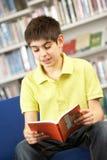 Allievo adolescente maschio in libro di lettura delle biblioteche Immagini Stock Libere da Diritti
