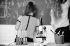 Allievo alla lavagna sulla lezione di chimica Concetto educativo di esperimento I compagni di classe delle ragazze studiano la ch fotografia stock