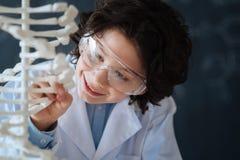 Allievo allegro che esplora codice genetico alla scuola Fotografia Stock