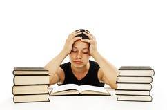 Allievo arrabbiato con le difficoltà di apprendimento Immagini Stock Libere da Diritti