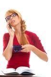 Allievo a che comunica in telefono della casella Fotografia Stock Libera da Diritti