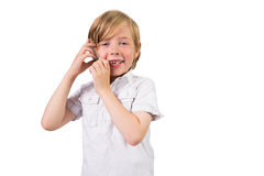 Allievo che fa una chiamata di telefono Immagini Stock
