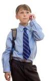 Allievo con il telefono all'orecchio Fotografie Stock Libere da Diritti