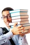 Allievo con la pila di libri Fotografia Stock