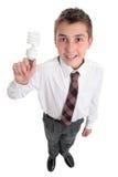 Allievo con le idee o l'ambiente della lampadina Fotografie Stock Libere da Diritti