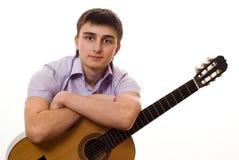 Allievo con una chitarra Fotografia Stock Libera da Diritti