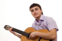 Allievo con una chitarra Immagine Stock Libera da Diritti