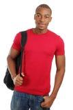 Allievo dell'afroamericano con il sacchetto Immagini Stock Libere da Diritti