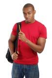Allievo dell'afroamericano con il sacchetto Fotografie Stock Libere da Diritti