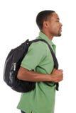 Allievo dell'afroamericano con il sacchetto Immagini Stock