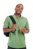 Allievo dell'afroamericano con il sacchetto e la matita Immagini Stock Libere da Diritti