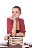 Allievo della ragazza con i libri Immagini Stock