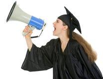 Allievo di graduazione che grida tramite il megafono Fotografia Stock