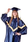 Allievo di laureato femminile felice Fotografie Stock Libere da Diritti