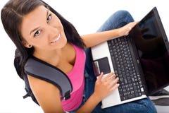 Allievo e computer portatile Immagini Stock