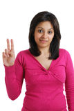 Allievo femminile che conta a due Immagini Stock Libere da Diritti
