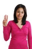 Allievo femminile che conta a tre Fotografia Stock
