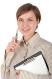 Allievo femminile con i appunti e la penna Fotografia Stock Libera da Diritti